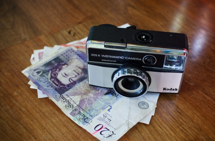 retro camera and money demonstrating value business photography